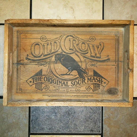 Vintage Old Crow Wooden Tray/ Decor